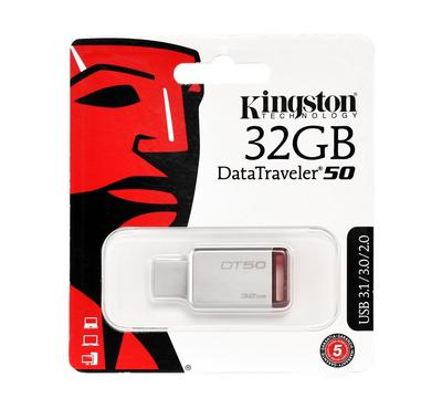 KINGSTON DT50 DataTraveler USB Flash, 32GB, Metal/Red