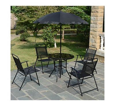 Outdoor Seating Set 6Pcs, 4Pcs Chair, 1Pc Round Table, 1Pc Parasol