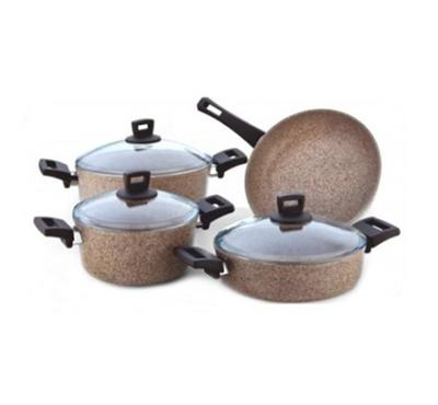 Alberto 7pcs Granite Cookware Set. Color-Granitec Cream