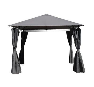Homz 3X3M Metal Gazebo With Side Curtains Grey