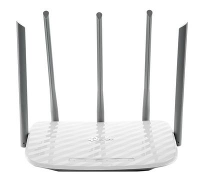 TP-LINK AC1350 Wireless Dual Band Router, Wireless On-Off, 5 fixed antennas, White