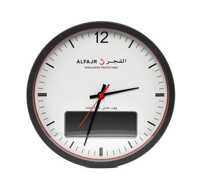 ساعة جدارية عقارب / رقمية متزامنة مزودة بخمسة أصوات أذان مختلفة