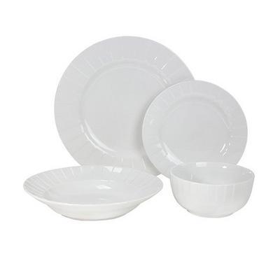La Mesa Dinner Set Of 24Pcs, Porcelain, Serve 6 Persons