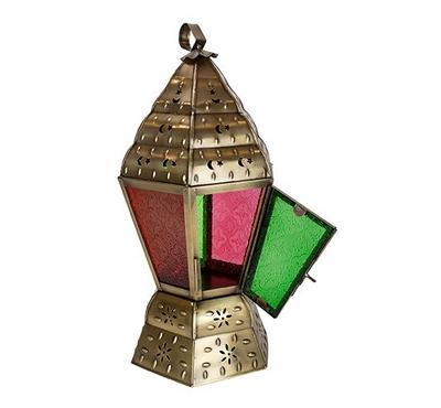 Egypytian Lantern Metal In Brass Antique Finish And Colored Glass 14.5x14.5x32cm