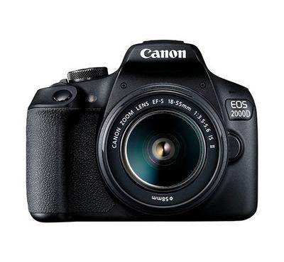 CANON DSLR EOS 2000D, 24 Megapixels, 3fps,18-55 IS Lens, WiFi, NFC, Black