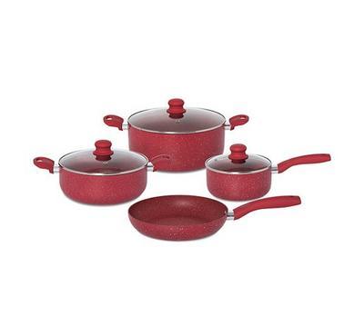 البرتو طقم أواني طهي 7 قطع لون أحمر