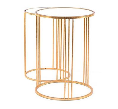Side Table Set Of 2pcs, Metal Gold With Mirror Top
