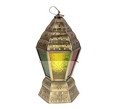 Egypytian Lantern Metal And Glass