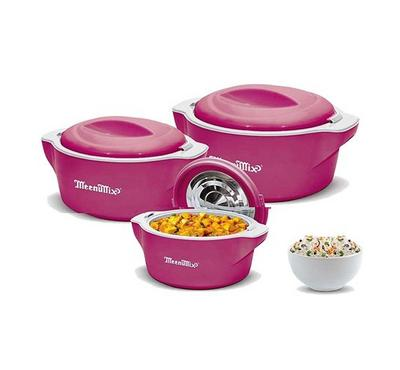 Meenumix PLAZA 3pcs Insulated Casserole Set With Lid Plastic