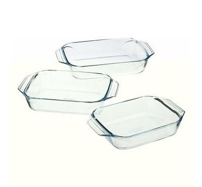 Pyrex, OPTIMUM 3pcs Rectangular Glass Roaster Dish Sets