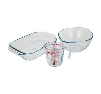 Pyrex ESSENTIALS 3pc Rectangular Roaster Collector Set White