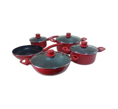 Bergner Bellini, 9pc Cookware Set With Glass Lid, Red