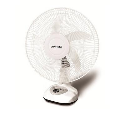 Optima 16-Inch Rechargeable Desk Fan With LED Light White