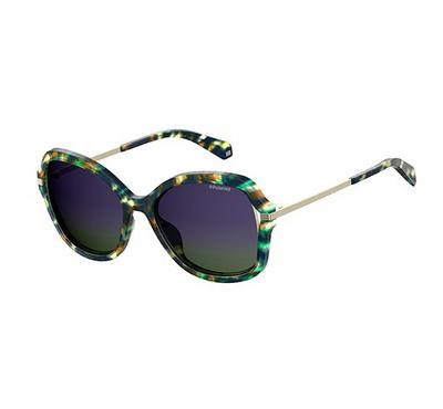 Polariod Ladies Green Havana Sunglasses