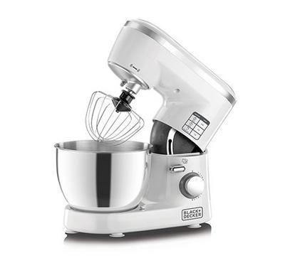 Black Plus Decker 4.0L Kitchen Machine Stand Mixer White