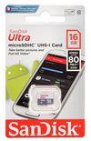 Sandisk ULTRA 16GB MicroSDHC Memory Card Class 10 Black/White