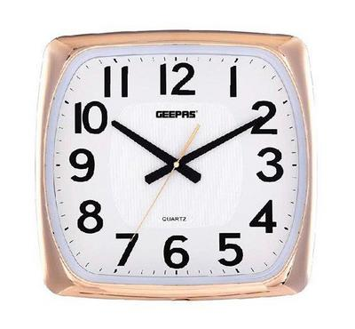 Geepas Luminous Dial Round Wall Clock White Brown Wood