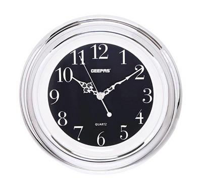 Geepas Luminous Dial Round Wall Clock Black and Clear