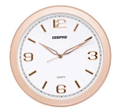 Geepas 3D Rose Gold Dial Round Wall Clock White and Gold