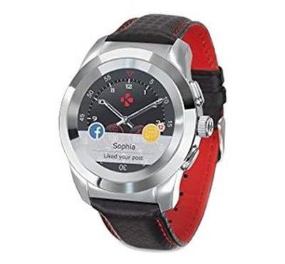 MyKronoz Premium 44mm Hybrid Touchscreen Smartwatch Red stiching