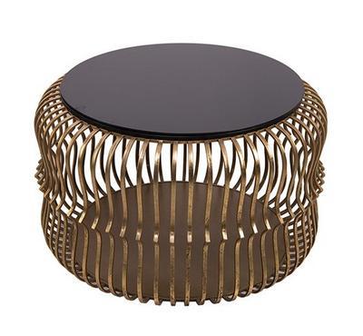 طاولة جانبية معدن دائرية لون ذهبي وأسود