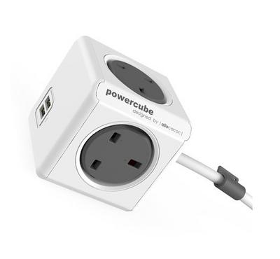 ALLOCACOC PowerCube Extended 3M, 2 Ports USB, Outlets 4 Socket