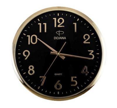 دوجانا ساعة حائط بلاستيكية، ذهبي/أسود
