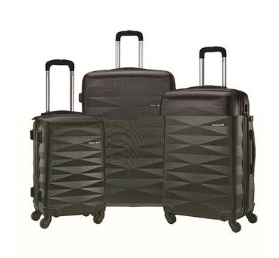 TRAVEL GEAR Diamond Set of 3 ABS Trolley Case, Size 20/26/30 inch, Black