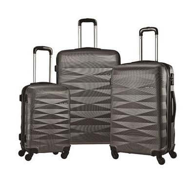 TRAVEL GEAR Diamond Set of 3 ABS Trolley Case, Size 20/26/30 inch, Grey