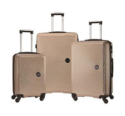 TRAVEL GEAR Jazz Set of 3 ABS Trolley Case, Size 20/26/30 inch, Champagne