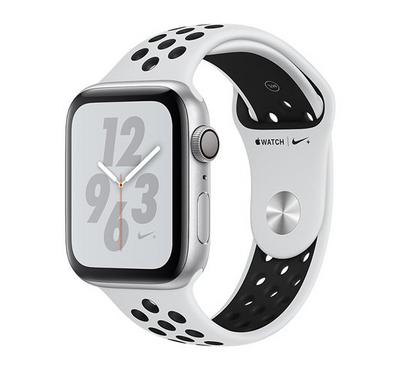 Apple Watch Nike+, Series 4 GPS, 44mm Silver Aluminium Case with Platinum/Black Nike Band