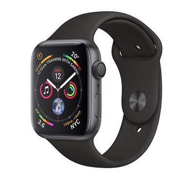 AppleWatch Series4, GPS, 44mm Space Grey Aluminium Case with Black Sport Band