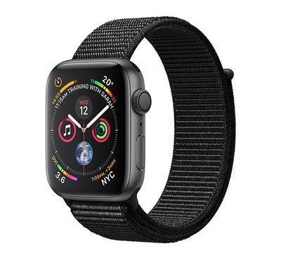 AppleWatch, Series4 GPS, 44mm Space Grey Aluminium Case with Black Sport Loop