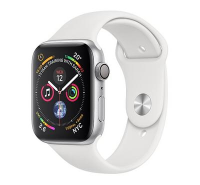 AppleWatch, Series4 GPS,44mm Silver Aluminium Case with White Sport Band