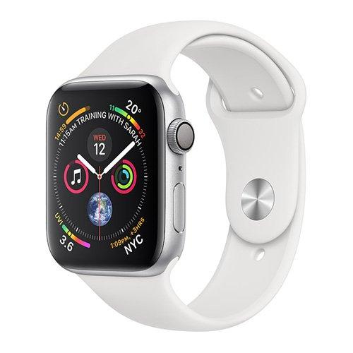 Apple Watch, Series 4 GPS, 44mm Silver Aluminium Case with White Sport Band