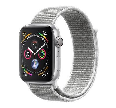 Apple Watch, Series 4 GPS, 44mm Silver Aluminium Case with Seashell Sport Loop
