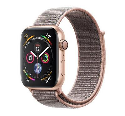 Apple Watch, Series 4 GPS, 44mm Gold Aluminium Case with Pink Sand Sport Loop