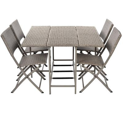 Homz Kinna Steel Rattan Balcony Set Of 5