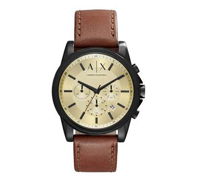 Armani Exchange Men Leather Brown Watch