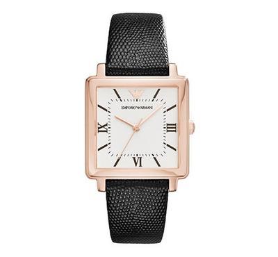 Emporio Armani Ladies Leather Black Watch
