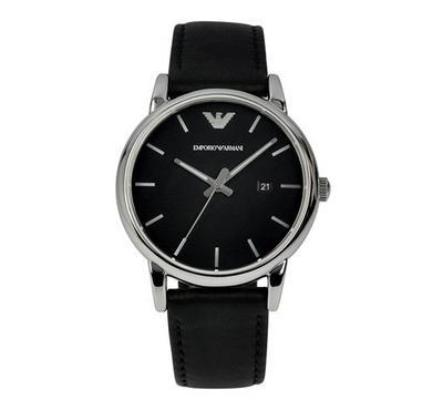 Emporio Armani Men Leather Black Watch