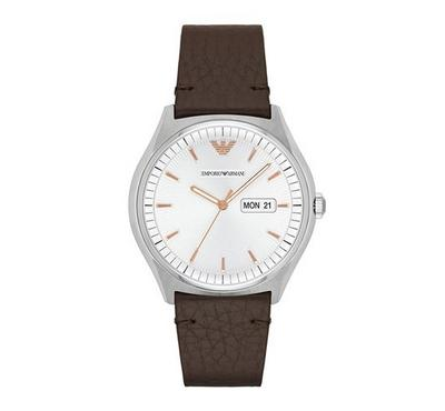 Emporio Armani Men Leather Brown Watch