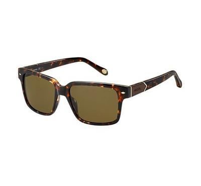 Fossil Men Havana Sunglasses With Plastic Brown Lens
