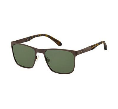 Fossil Men Matt Brown Sunglasses With Plastic Green Lens