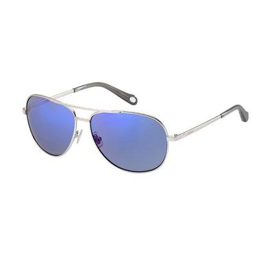 Fossil Ladies Smt Silver Sunglasses With Plastic Blu Sky Sp Lens