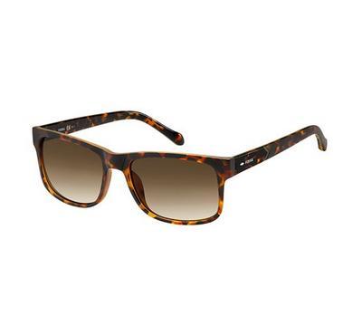 فوسيل نظارة شمسية رجالي، بني هافانا، عدسات بلاستيك بني