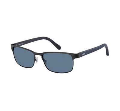 Fossil Men Matt Black Sunglasses With Plastic Blue Avio Lens