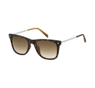 Fossil Men Dark Havana Sunglasses With Plastic Brwn Sf Lens