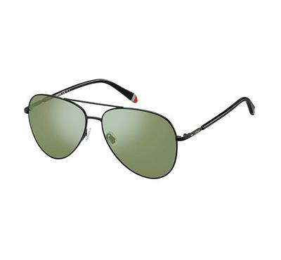 Fossil Unisex Matt Black Sunglasses With Plastic Green Sp Lens