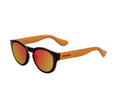 Havaianas Unisex Brown Ochre Sunglasses With Plastic Red Fl Lens